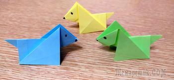 Собака из бумаги. Поделки оригами