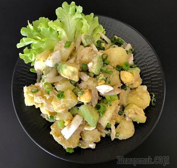 Картофельный салат с яйцом и авокадо