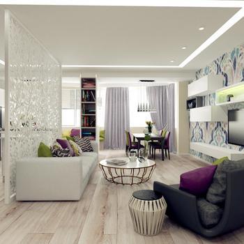 Большая квартира для любителей ярких красок