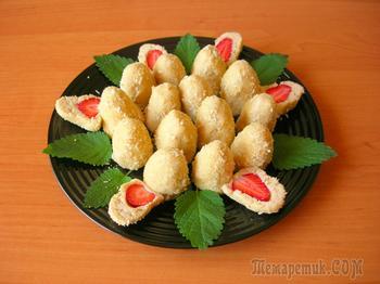 Печенье без выпечки с клубникой, оригинальный десерт за 15 минут!