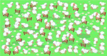 Крепкий орешек для мозга, задача — найти цыпленка среди овец