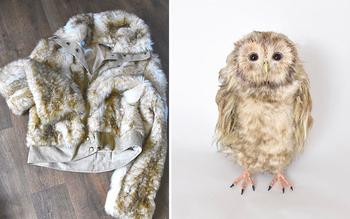 Реалистичные фигурки животных из меховой одежды