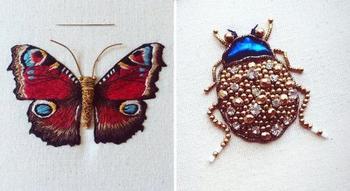 Вышитые насекомые от Хамайры Бинт Альтаф