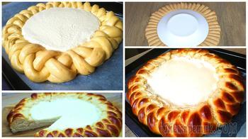 Пирог-косичка творожный, тесто нежное как пух