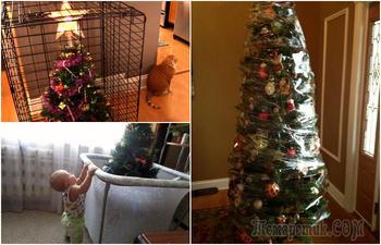 16 хитроумных способов, как уберечь елку от покушений животных и детей