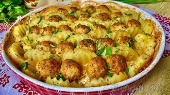 Съедается мгновенно! Сочные фрикадельки с картофелем в духовке!