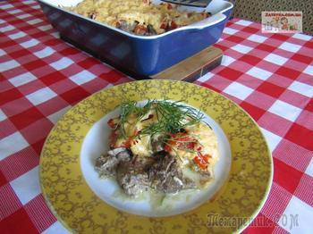 Куриная печень с помидорами и сыром