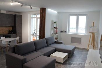 """Кухня оттенка """"бетон"""", белые стены и серый ламинат"""