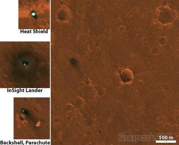 Марсианский посадочный аппарат НАСА InSight замечен из космоса
