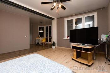 Молодая семья за копейки превратила «однушку» с необычной планировкой в современное жилье