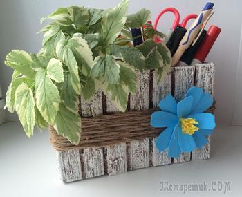 Цветочный кашпо - органайзер из джута и картона своими руками