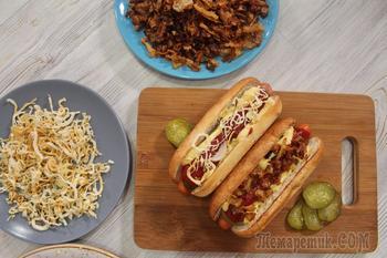 Хрустящий жареный и печеный лук. 2 добавки к хот-догу, бургеру да и вообще к всему