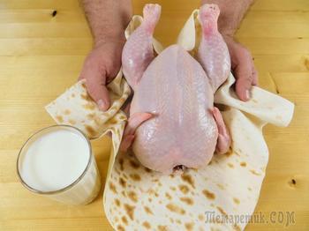 Курица в лаваше запеченная в духовке