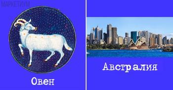 В какой стране вы должны жить в зависимости от вашего знака зодиака