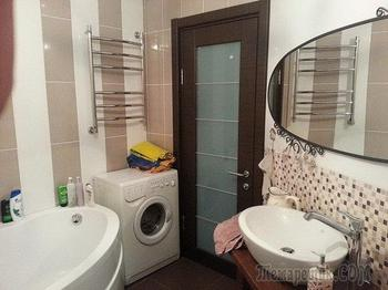 Ванная комната: деревянную столешницу сделали сами