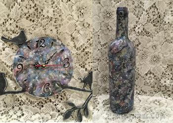 Космический декор бутылки и часов