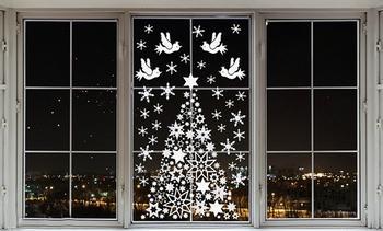 Украшения для окон на Новый год 2019: шаблоны Свиньи, Деда Мороза и другие новогодние вытынанки