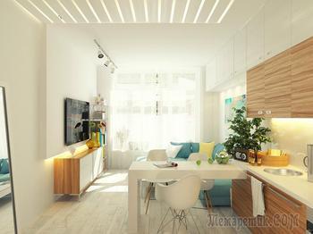 Дизайн интерьера маленькой студии 29 кв. м.