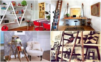12 оригинальных стеллажей, которые были сделаны из переносных лестниц
