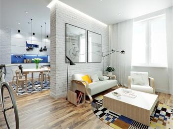 Квадратная квартира 44 кв.м. для молодого мужчины