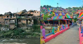 В Индонезии за 22 тысячи долларов превратили трущобы в радужный уголок