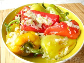Острая закуска - жареный болгарский перец в чесночном маринаде