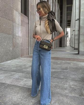 Как стильно носить джинсы с трикотажными вещами