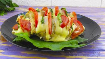 Фаршируем куриные грудки сыром и помидорами и запекаем! Так просто и вкусно!