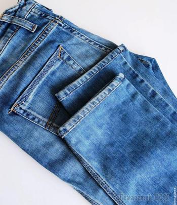 Как подшить джинсы, оставив производственные потертости