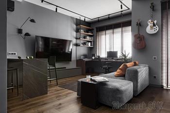Посмотрите на брутальную квартиру для музыканта, где кухню перенесли в прихожую