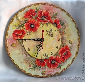 Мастер-класс по объемной росписи. Часы «Маков цвет»