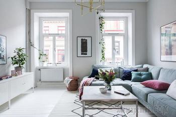 Легкий пастельный интерьер квартиры в Швеции
