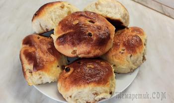 Мягкие и нежные домашние булочки с изюмом