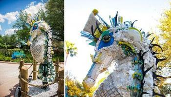 Скульптуры морских обитателей из пластикового мусора, прибитого к берегу