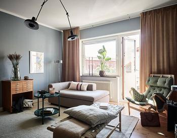 Стильная небольшая двухкомнатная квартира с бюджетным ремонтом