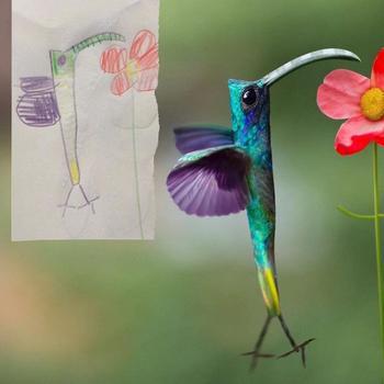 Детские рисунки животных, превращённые в реалистичных персонажей