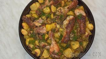Курица с картошкой и грибами в духовке.Вкусный ужин