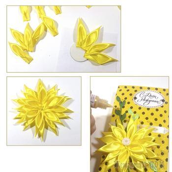 Текстильная шоколадница с цветком в стиле «Кanzashi»