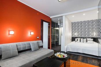 Контрастный дизайн однокомнатной квартиры 36 кв. м.