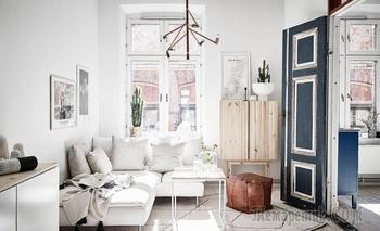 Скандинавская квартира в 51 м² с синими акцентами