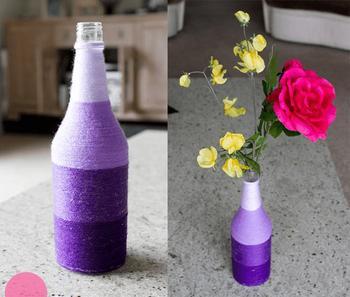 Ваза для цветов из стеклянной бутылки