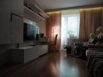 Зал, два спальных места, кабинет и гардеробная