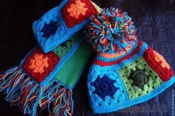 Вязание шапочки из остатков пряжи