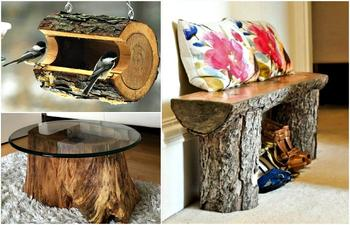 Идеи использования деревянных пней для декора дома и сада