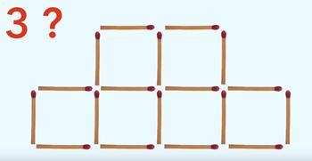 Для гениев! Нужно убрать 3 спички, чтобы получилось 4 одинаковых квадрата