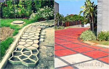 20 бетонных дорожек из трафарета, которые станут украшением любого двора