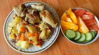 Тушеная курица в собственном соку в духовке с овощами
