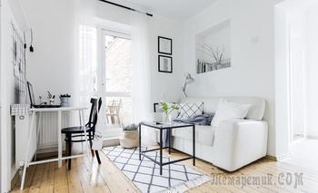 Скандинавская квартира 35 м² для семьи с двумя детьми в Краснодаре