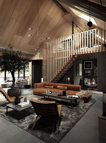 Стильный интерьер деревянного коттеджа в темных тонах в Швеции