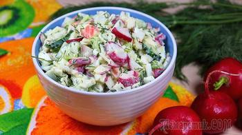 Салат из редиса с крабовыми палочками